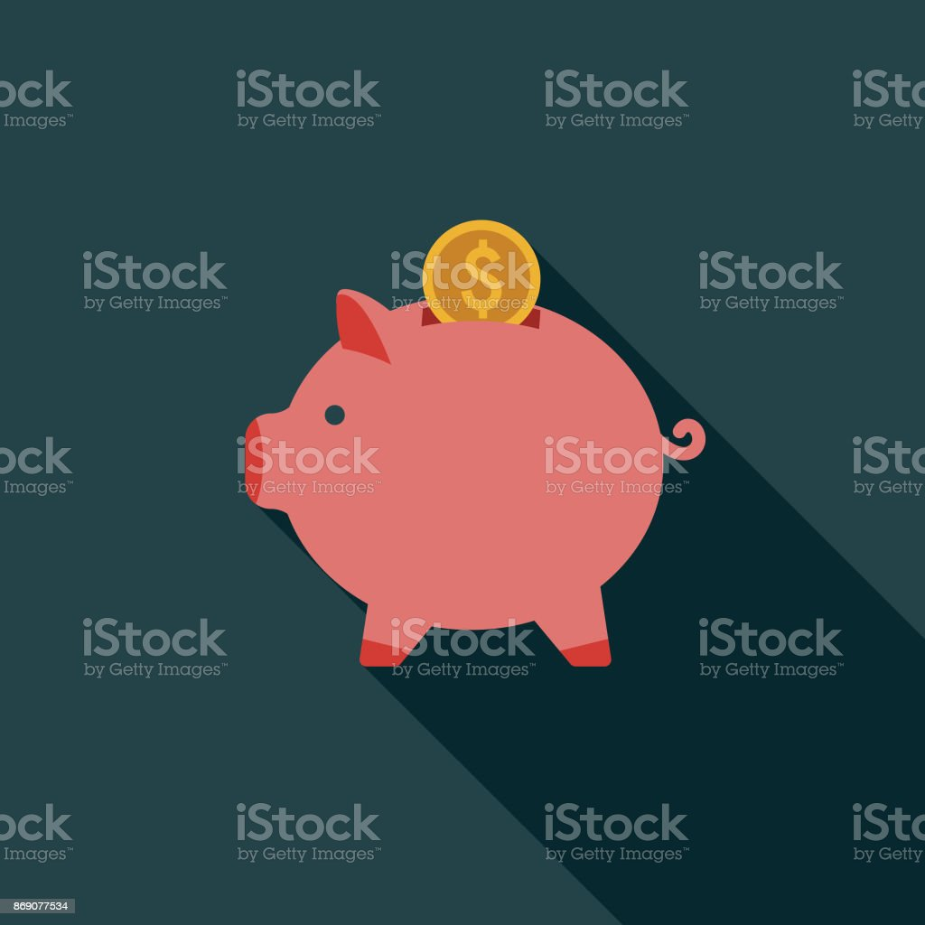 Flat Design Real Estate Savings Icon with Side Shadow vector art illustration