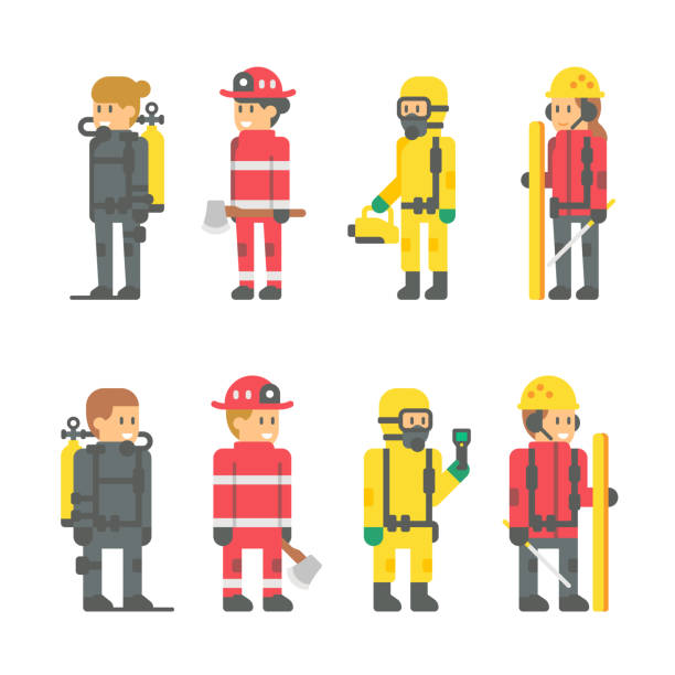flat design recuer staffs - cartoon of a hazmat suit stock illustrations, clip art, cartoons, & icons