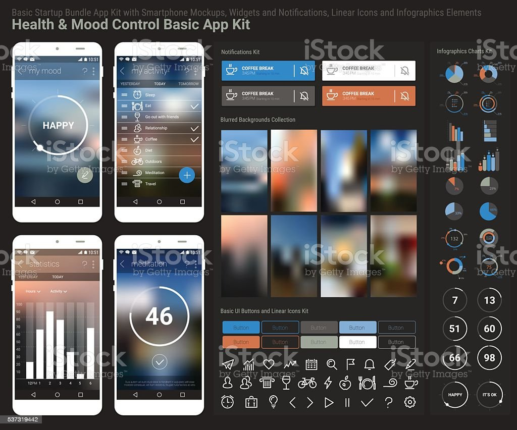 Flat Design Responsive Ui Mobile App And Website Template Stock