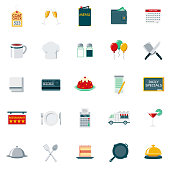 A set of 25 restaurant flat design icons on a transparent background. File is built in the CMYK color space for optimal printing. Color swatches are Global for quick and easy color changes.