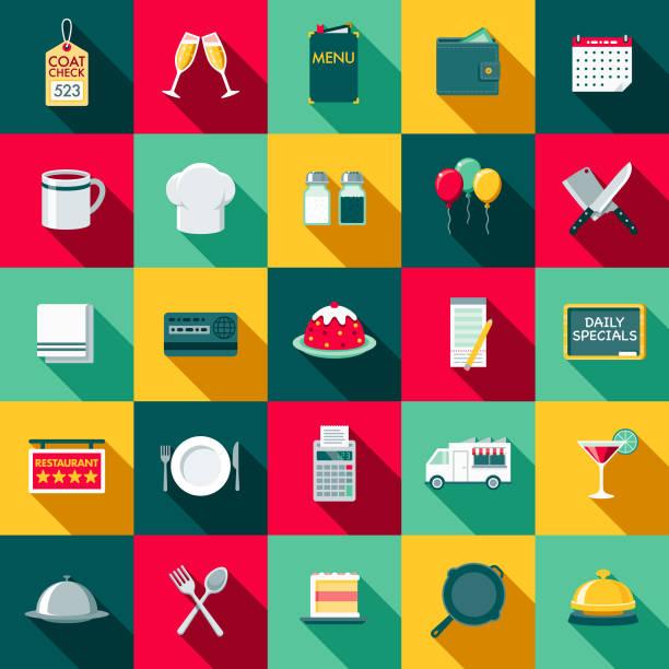 flaches design-restaurant-icon-set mit seite schatten - flat design symbole stock-grafiken, -clipart, -cartoons und -symbole