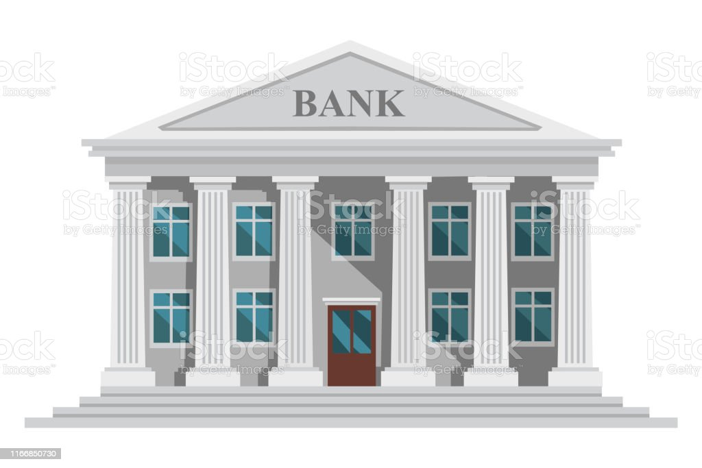 Retro Bank Design.Flat Design Retro Bank Building With Columns And Windows
