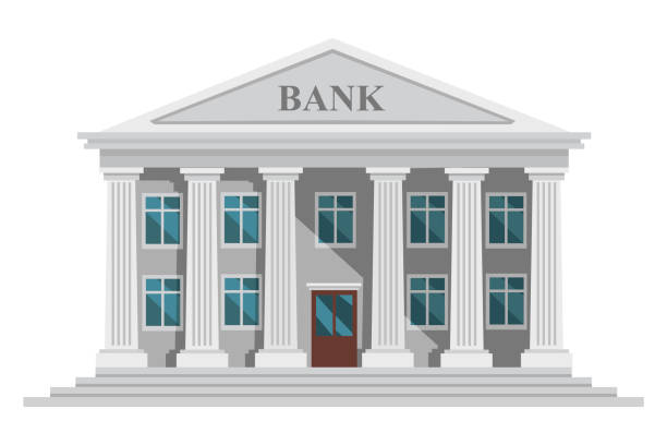 Flat design retro bank building with columns and windows vector illustration isolated on white background Flat design retro bank building with columns and windows vector illustration isolated on white background. banking stock illustrations