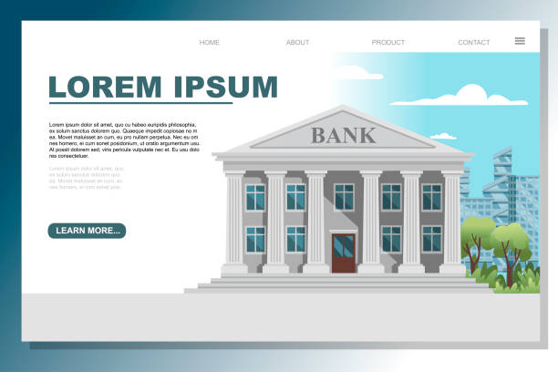 flat design retro bank building with columns and windows vector illustration on modern city landscape good sunny day with blue sky and clouds background web site page design - bank stock illustrations