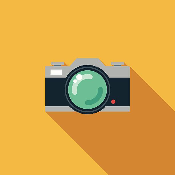 Un Design rétro Appareil photo reflex à un objectif Icônes avec longues ombres - Illustration vectorielle