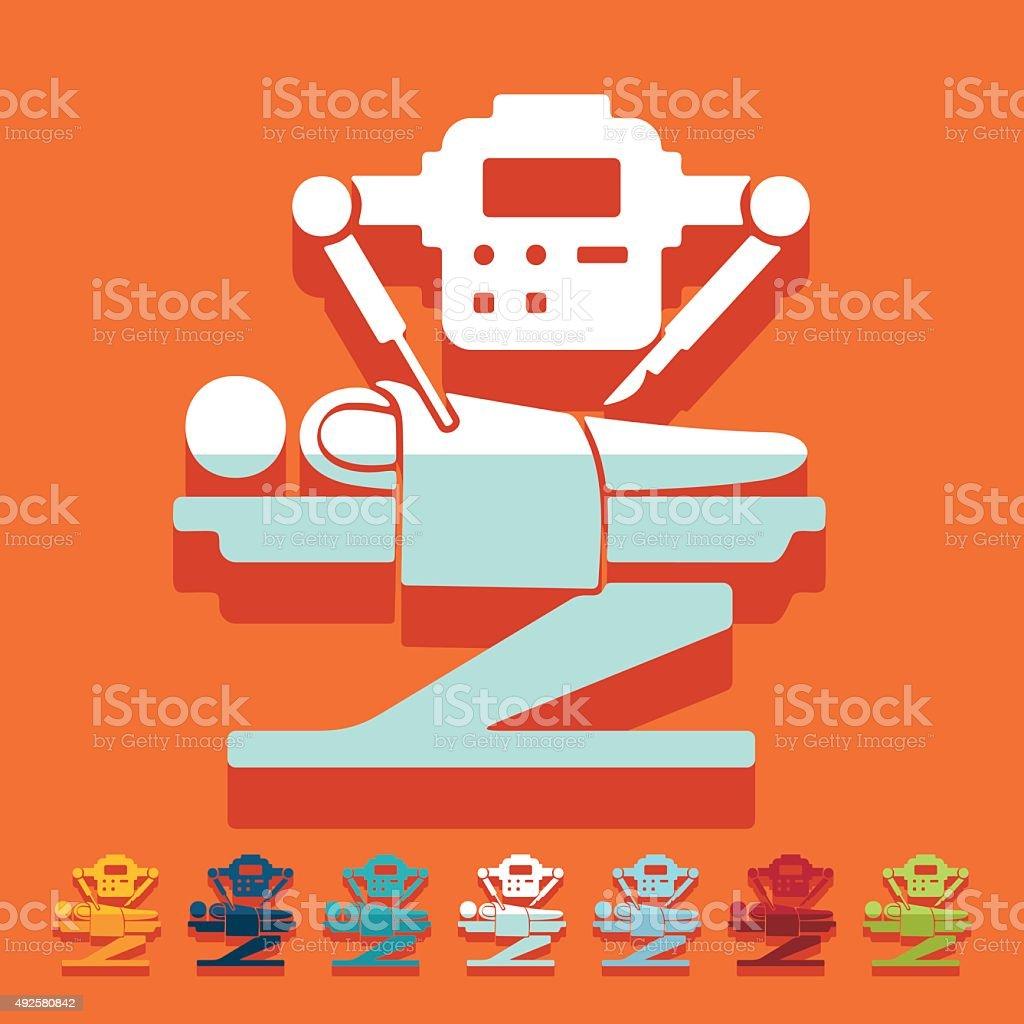Flat design: robot surgeon vector art illustration