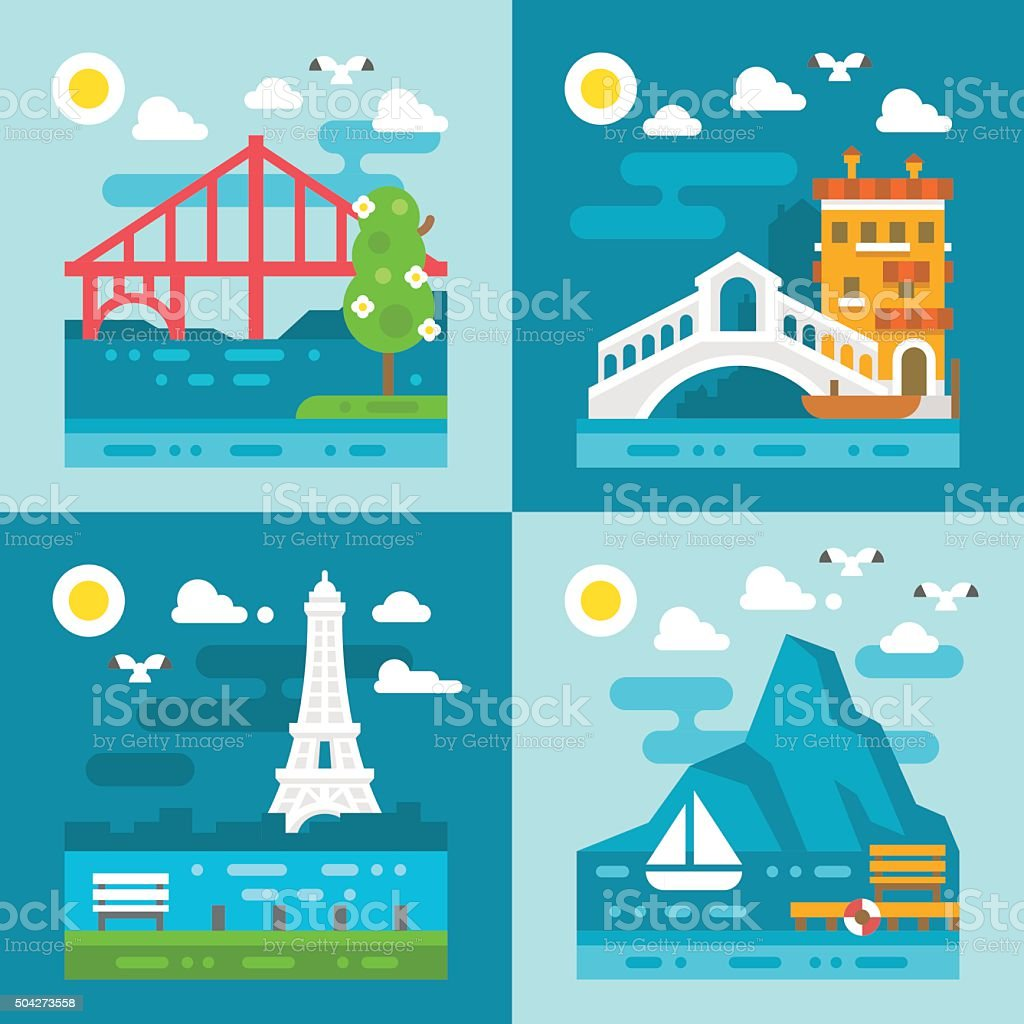 Flat design romantic landmark set vector art illustration