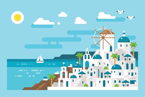 Flat design santorini cityscape view