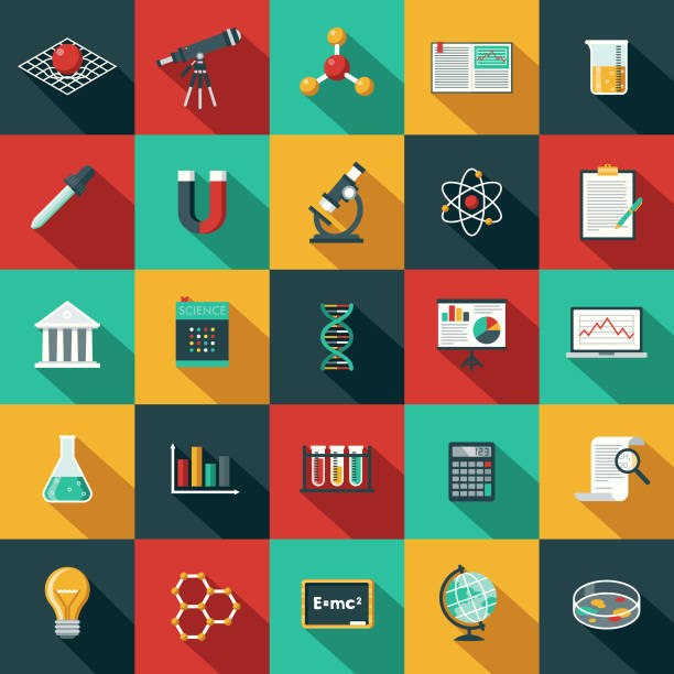 Flat Design Science & Technology Icon Set with Side Shadow A set of flat design styled science and technology icons with a long side shadow. Color swatches are global so it's easy to edit and change the colors. book clipart stock illustrations