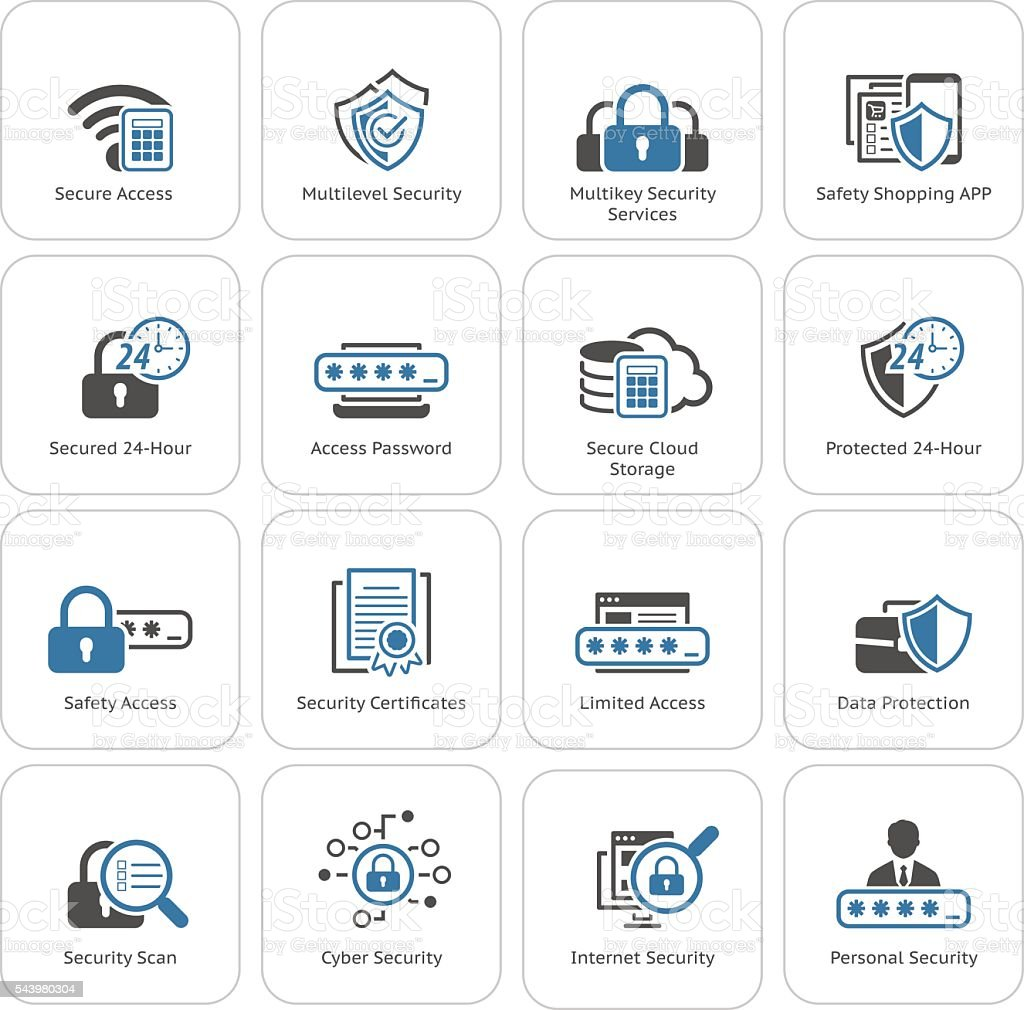 Flat Design Security and Protection Icons Set. vector art illustration