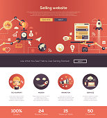 Selling, promotional business start up web site one page website template layout with thin line design header, banner, icons and other flat design web elements