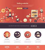 Flat design selling website header banner with webdesign elements