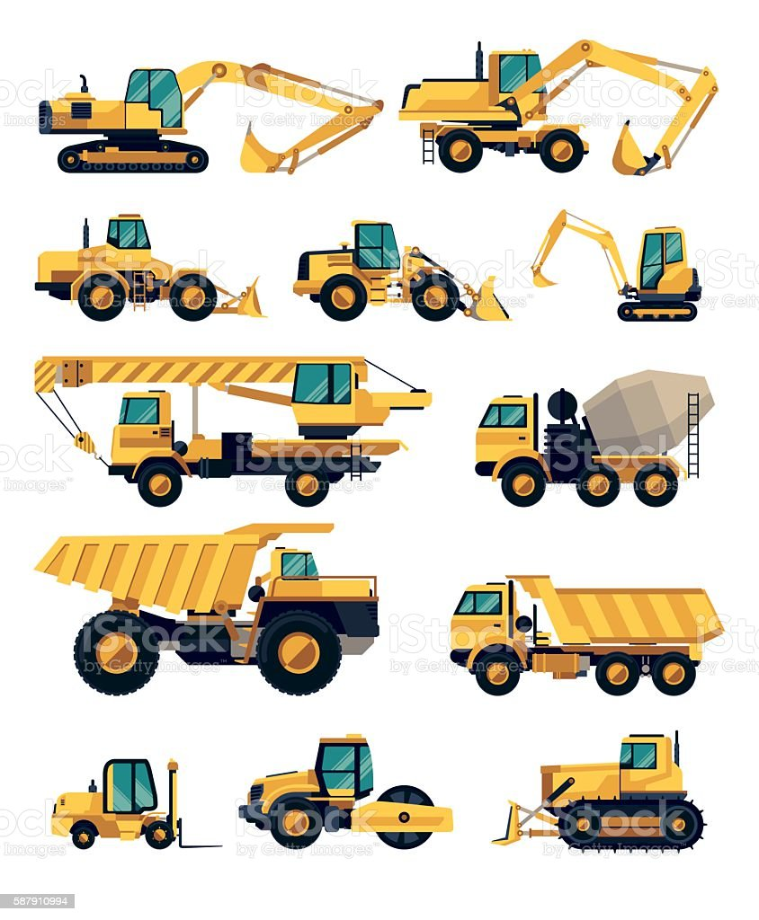 Flat design set of construction machinery and equipment vector art illustration