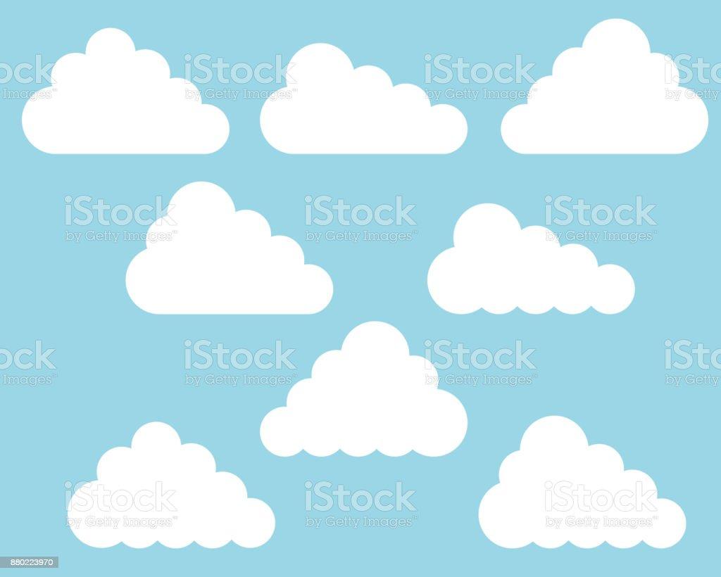Flat design set of different white clouds on blue sky - vector vector art illustration