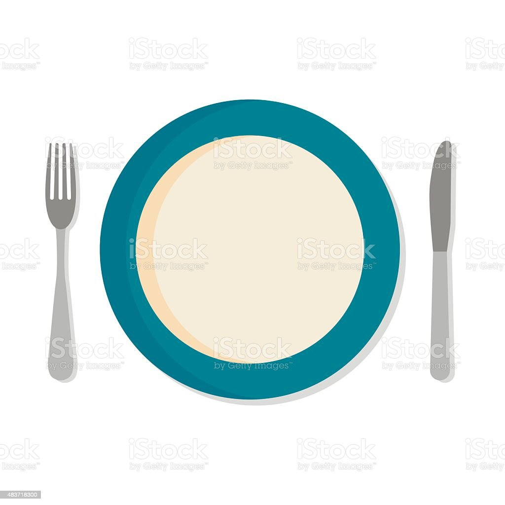 Flat design set with a fork knife and dinner plate royalty-free flat design  sc 1 st  iStock & Flat Design Set With A Fork Knife And Dinner Plate Stock Vector Art ...