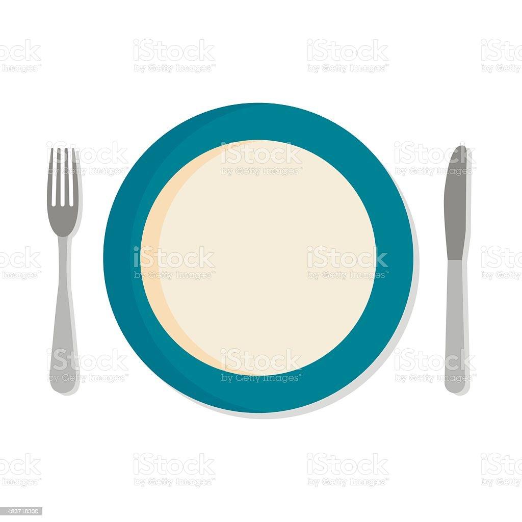 Flat design set with a fork, knife and dinner plate vector art illustration
