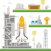 istock Flat design shuttle launch station 499124826