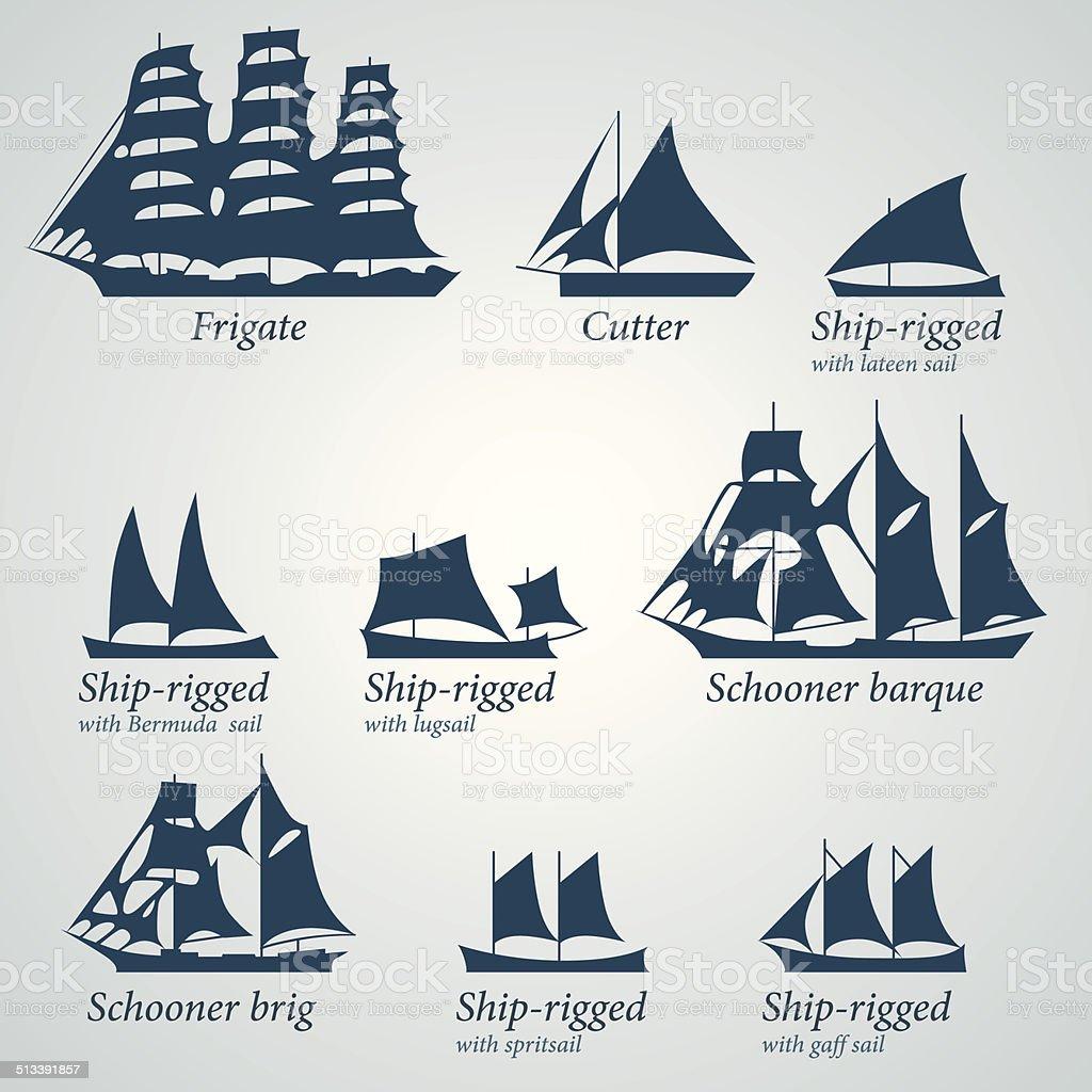 Flat Design Silhouette of Ships vector art illustration