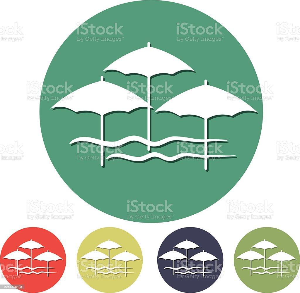 Disegni Di Spiaggia E Ombrelloni.Flat Design Semplici Icona Simbolo Di Ombrelloni Da Spiaggia