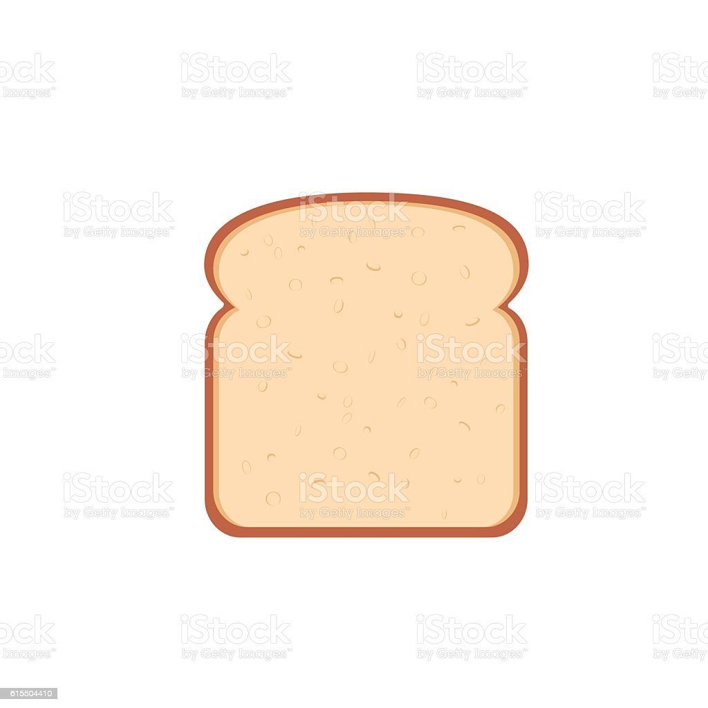 flat design single bread slice icon向量藝術插圖