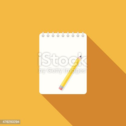 istock Flat Design Sketchbook Icon With Long Shadow 476250294