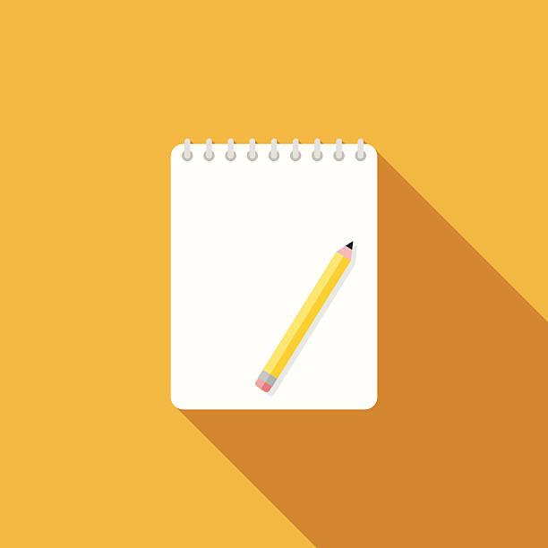 płaska konstrukcja ikona z długi cień notatniku - notes stock illustrations