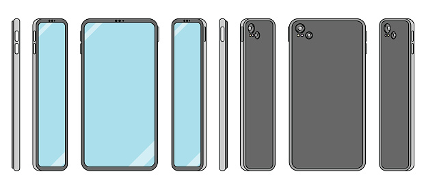 Flat design smart phone illustration in orthonormal view for UX and UI