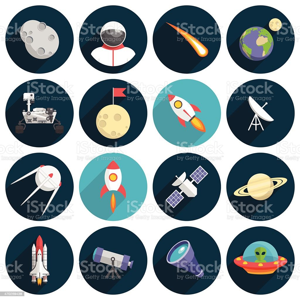 Flat design space themed icons on dark colors vector art illustration