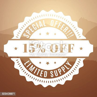 Flat design special offer label on blurred background. It can be used on image background or alone. All elements are separate objects. File is layered, and grouped.  Very easy to change color.