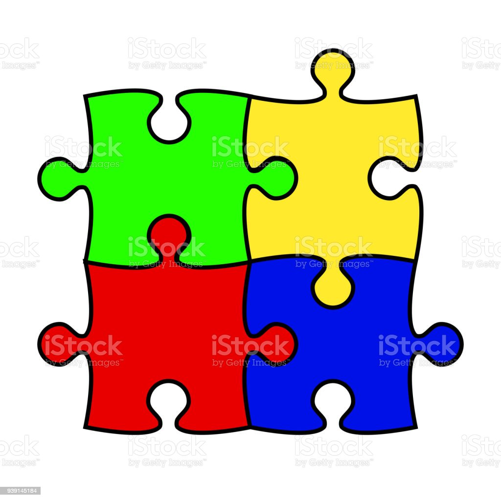flat design square in for puzzle pieces icon vector illustration vector art illustration