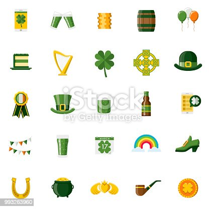 A set of 25 Saint Patrick's Day Irish flat design icons on a transparent background. File is built in the CMYK color space for optimal printing. Color swatches are Global for quick and easy color changes.