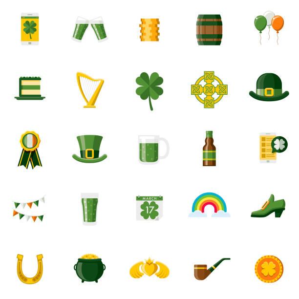flache design st. patricks tag icon set - pfand stock-grafiken, -clipart, -cartoons und -symbole