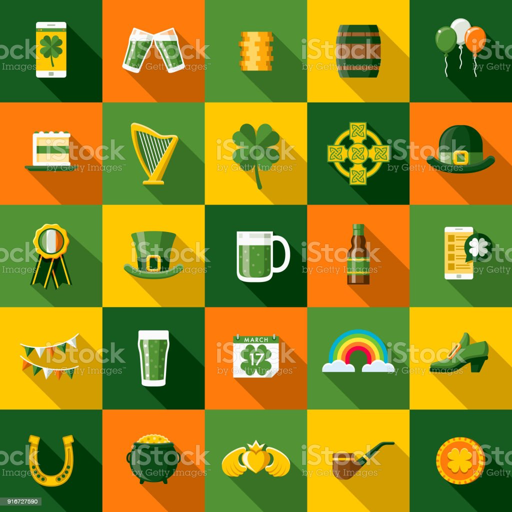 Flat Design St. Patrick's Day Icon Set with Side Shadow