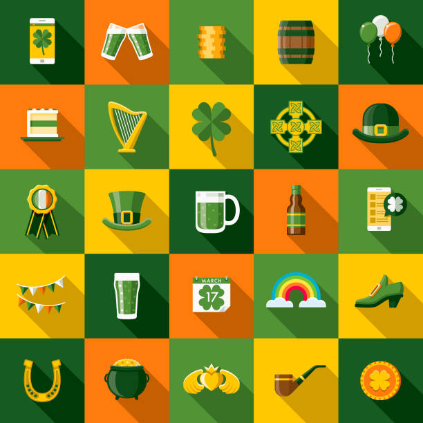 Flat Design St. Patrick's Day Icon Set with Side Shadow vector art illustration