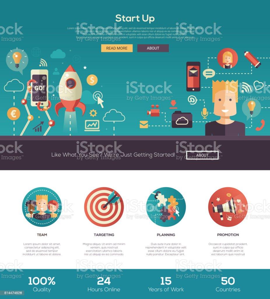 Flat design start up website header banner with webdesign elements vector art illustration
