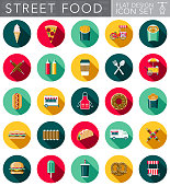 A set of flat design styled street food icons with a long side shadow. Color swatches are global so it's easy to edit and change the colors.