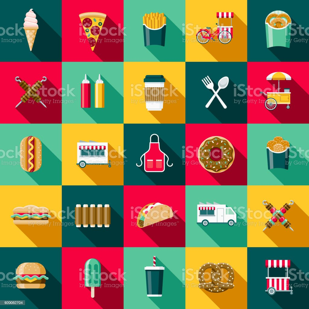 Plat Design Street Food Icon Set avec côté ombre - Illustration vectorielle