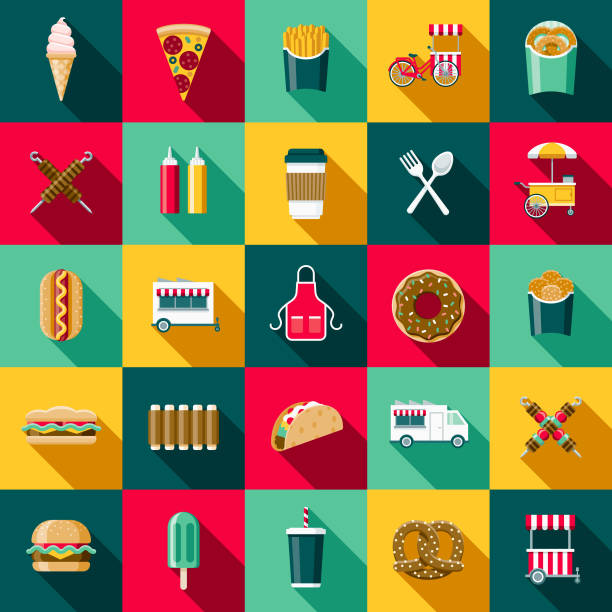 Flat Design Street Food Icon Set with Side Shadow A set of flat design styled street food icons with a long side shadow. Color swatches are global so it's easy to edit and change the colors. french fries stock illustrations