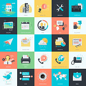 Flat design style basic icons for website design