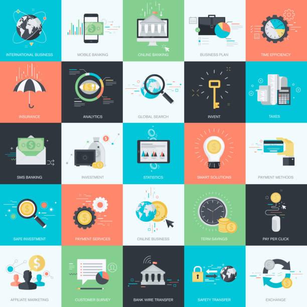 フラットなデザインコンセプトアイコンのスタイルの金融、金融、e コマース化 - ビジネスのインフォグラフィック点のイラスト素材/クリップアート素材/マンガ素材/アイコン素材