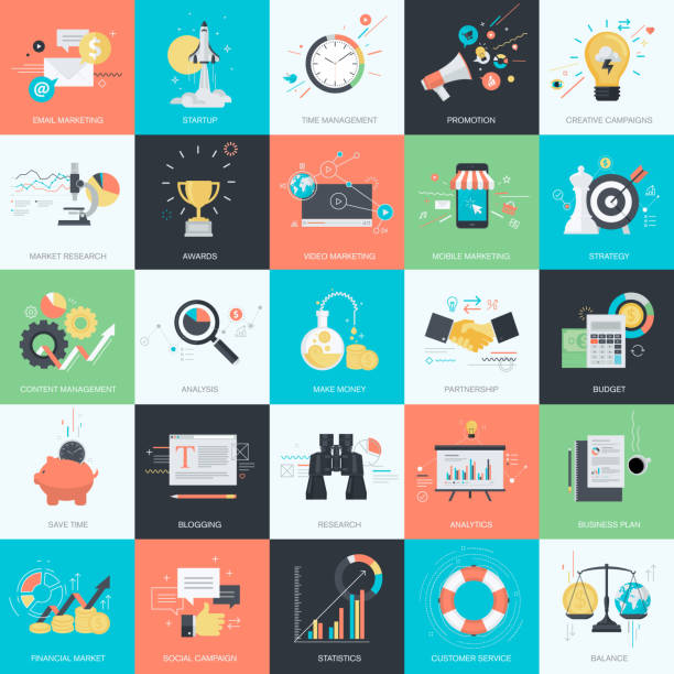 Flat design style concept icons for marketing and business Set of flat design style concept icons for graphic and web design. Icons for internet marketing, business, finance.   banking patterns stock illustrations