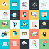 Flat design style concept icons for website development, e-commerce