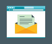 Flat design style e-mail in internet browser