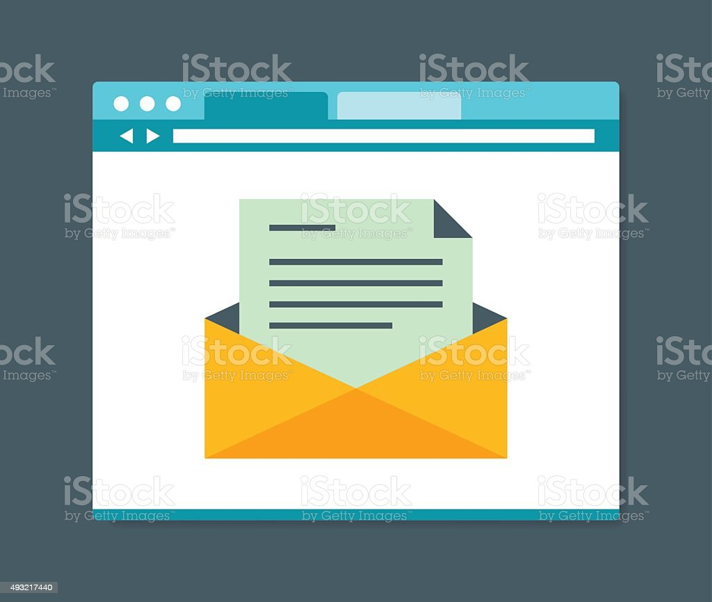 Flat design style e-mail in internet browser vector art illustration