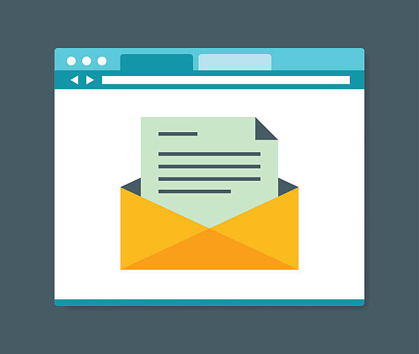 flat design style e-mail in internet browser - email templates stock illustrations