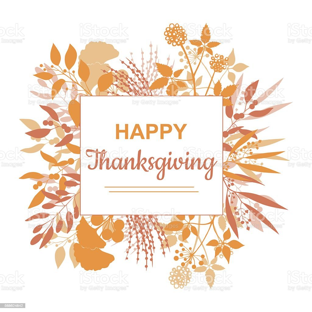 flat design style happy thanksgiving card template stock vector art