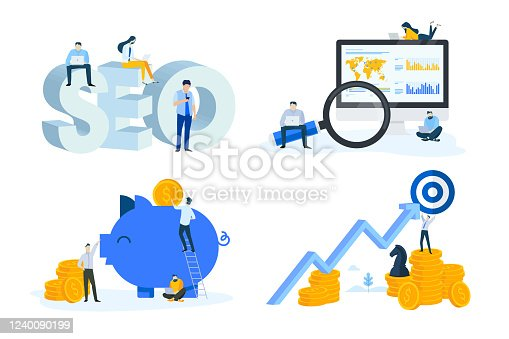 istock Flat design style illustrations of seo, market research, data analysis, finance, banking, strategy and savings 1240090199