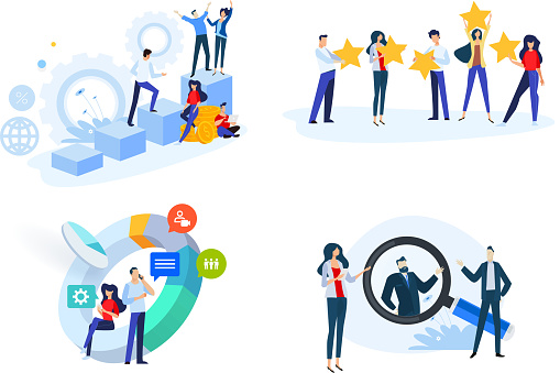 Flat design style illustrations of startup, business plan, star rating, market research, human resource, career