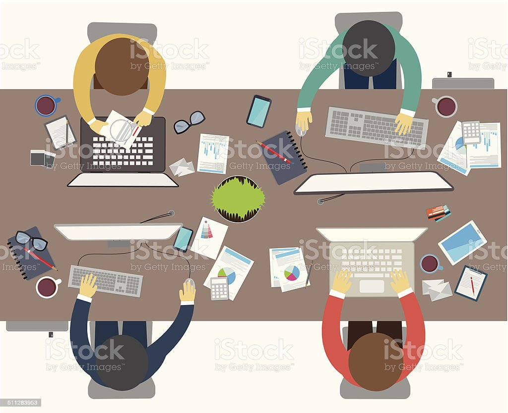 Flat design style of business meeting, office worker vector art illustration
