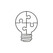 Flat design style vector illustration concept of lightbulb-shaped jigsaw puzzle pieces symbol icons connected on white background. Black outlines.